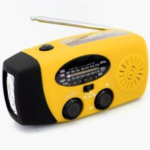 Yellow Portable Emergency Solar Hand Crank Radio AM/FM 3 LED Flashlight Charger