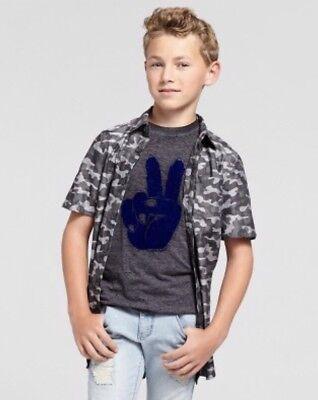 NEW art class Camo Short Sleeve Button Front Shirt Boys Size L