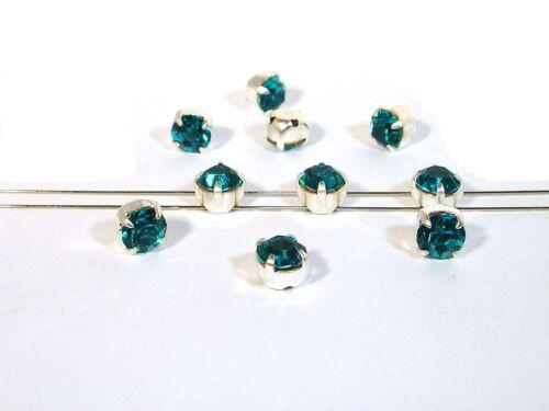 10 Stück #P161 6 Blue Zircon 5mm gefasst Glas Aufnähsteine // Strasssteine