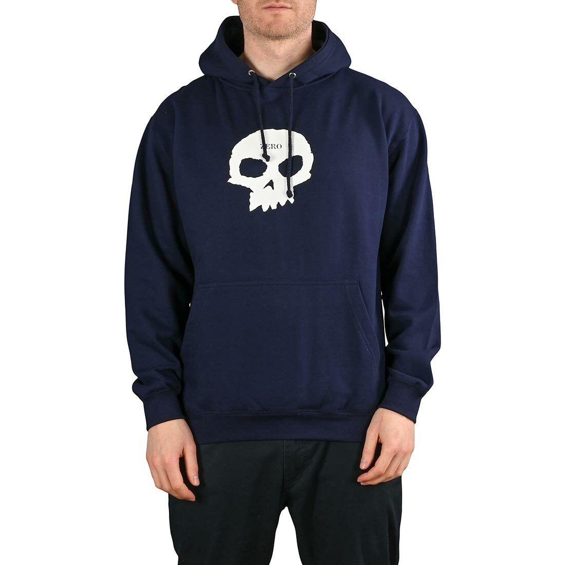 Zero Single Skull Pullover Hoodie - Navy / White
