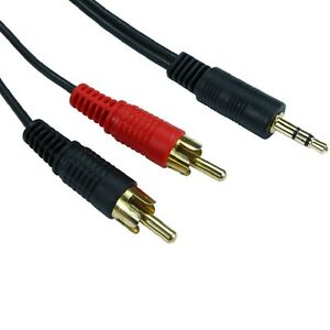 10m-LONG-3-5mm-Jack-to-2-x-RCA-Cable-Twin-Phono-Audio-Lead-Stereo-GOLD