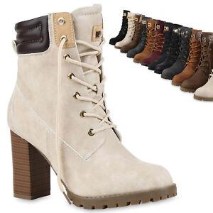 pretty nice a3703 194a0 Details zu Damen Schnürstiefeletten Worker Boots Stiefeletten Block Absatz  812259 Trendy