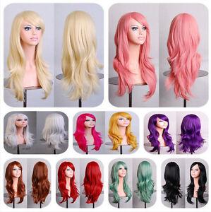 Cosplay-Gelockt-Haar-Wig-Peruecke-70cm-Halloween-Karneval-modell7005