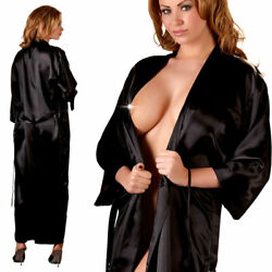 "Satin Kimono S M L XL XXL 3XL glänzend Morgenmantel Nachtwäsche Damen ""Aida"" B21"
