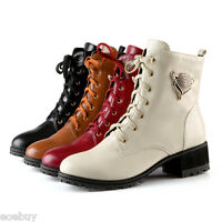 Women's Thick Heel Round Toe Platform Shoes Lace-up Ankle Boots UK All Size O422