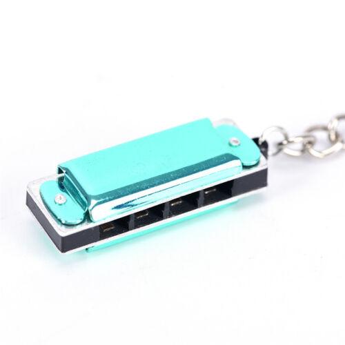 Color Mini Harmonica Keychain Mouth Organ Keyring Pendent Rad Silver Tone ES