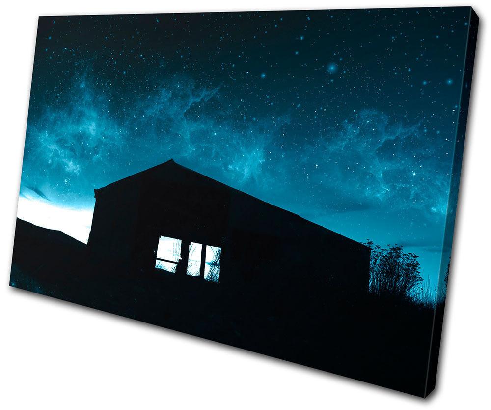 Canvas Art Picture Print Decorative Decorative Decorative Photo House Night Sky Nebula Space Stars 4ddbae