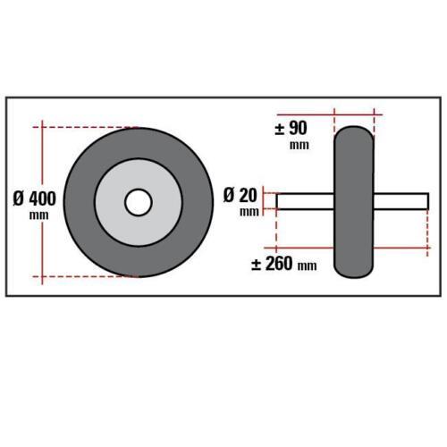 Roue pour brouette anti crevaison run flat 400 mm avec Axe jante et rayons acier