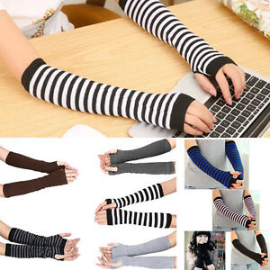 Lady-Stretchy-Soft-Striped-Wrist-Arm-Warmer-Long-Sleeve-Fingerless-Gloves