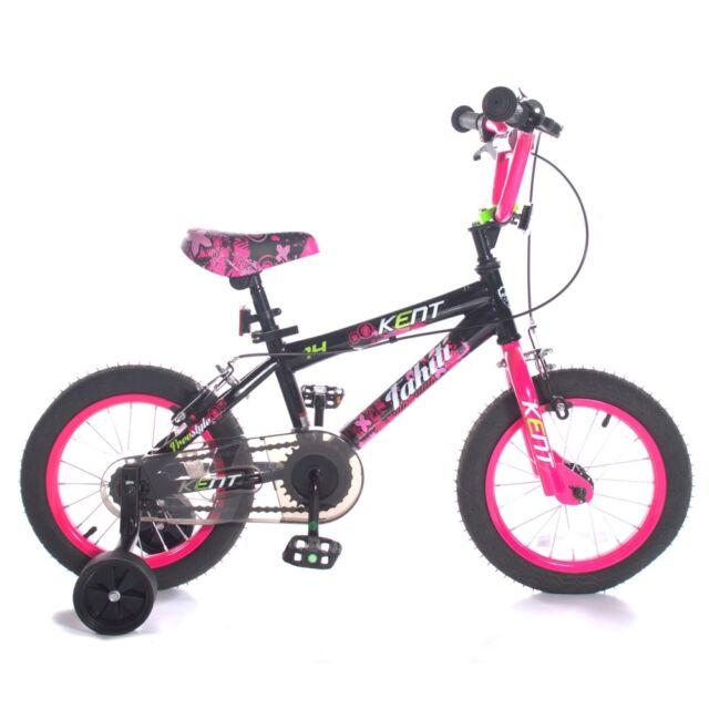 """Kent 14"""" Girls Tahiti Bike, Kids Bicycle with Stabilisers & Chainguard"""