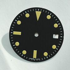 Plain Milsub Watch Dial for ETA 2836 / 2824 Movement Yellow Lume w/Date