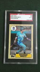 George Brett 1987 Topps #400 Signed Royals HOF Autographed Authentic SGC