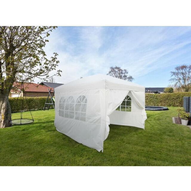 10' x 10' Easy Pop Up Gazebo Canopy Party Tent with Sidewalls Garden Lawn Yard