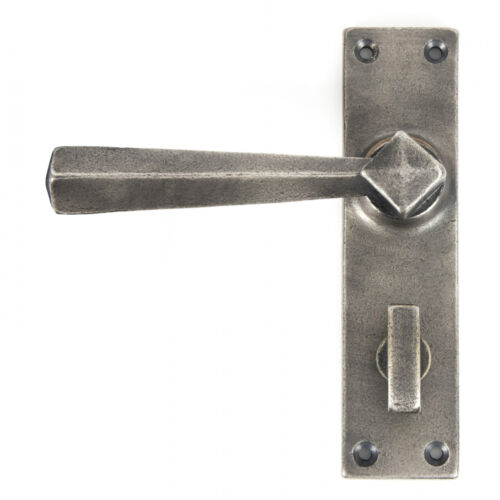ATC ANVIL 73117 PEWTER STRAIGHT LEVER BATHROOM LOCK SET TRADITIONAL PERIOD