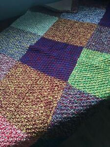 Ancien Plaid / Couverture En Coton Tricoté Patchwork 150 Cm X 85 Cm Produits De Qualité Selon La Qualité