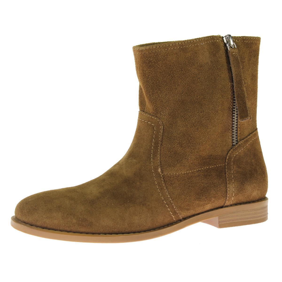 NIB Steve Madden Womens Constant Suede Round Toe Zipper Ankle Boots Cognac 5.5
