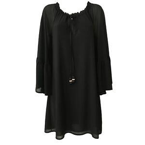 Erendira Robe Made Italy 100 Polyester Noir Mod Singe Femme In qpzdqrx