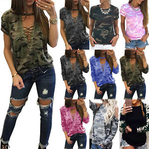 Plus-Size-Womens-Camouflage-Short-Long-Sleeve-T-Shirt-Casual-Camo-Tee-Shirt-Tops