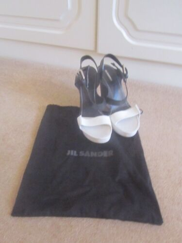noir 40 Dans compensées et Taille Dustbag verni en Jil Sandales Vgc Sander blanc cuir awOqdOz