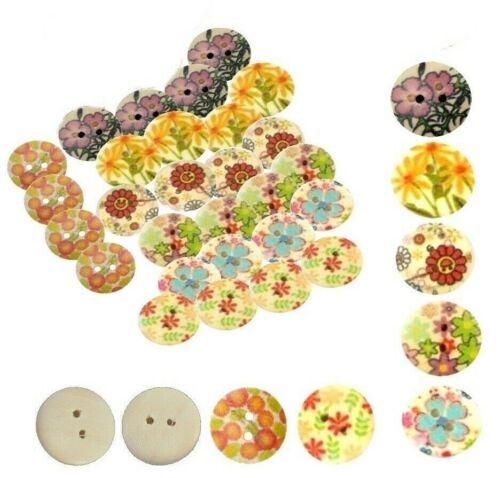 175 botón de madera 18mm//2 agujeros trama mixta madera bastelknöpfe niños botones
