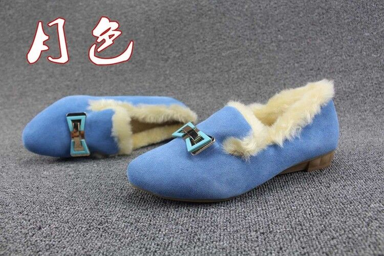 Bow Lamb Wool Mocassin Suede Leather Muller Pumps Flats Plush Faux Fur Slipper