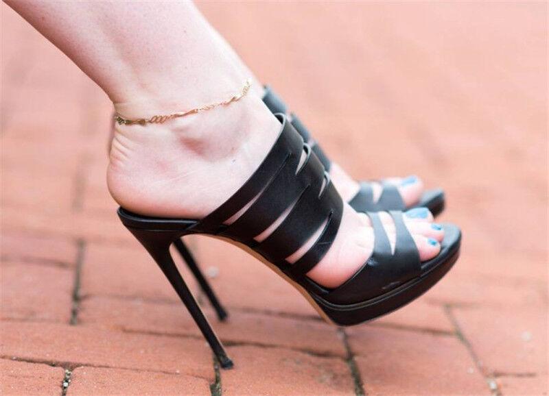 Women Cut Out Stilettos Platform High Heels Peep Toes Sandals Party Club shoes