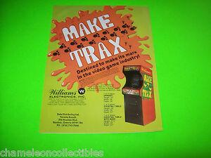 MAKE-TRAX-By-WILLIAMS-ORIGINAL-NOS-VIDEO-ARCADE-GAME-PROMO-SALES-FLYER-BROCHURE