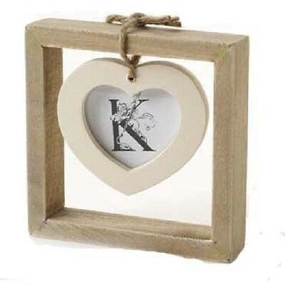 Single Rustic Wooden Square with Hanging Heart Photo / Picture Frame * Love Gift