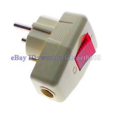 2 x Schuko Germany Russia EU ø4.8mm Rewireable Plug 250V 16A W/ LED Switch
