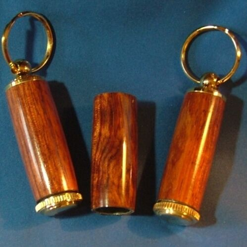 Bubinga Pill or Toothpick Keychain in Chrome or 10k Gold Plating