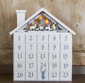 Wooden Light Up Christmas House Advent Calendar Led Nordic Pre Lit
