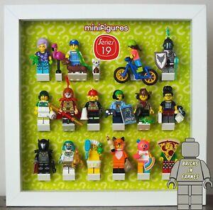 Affichage-Cadre-case-pour-Lego-Series-19-Minifigures-Correct-Series-Logo