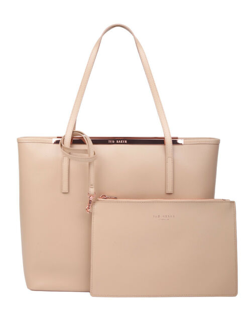 Ted Baker Isbell Pale Beige Leather Tote Per Zip Purse Bnwt Rrp 149