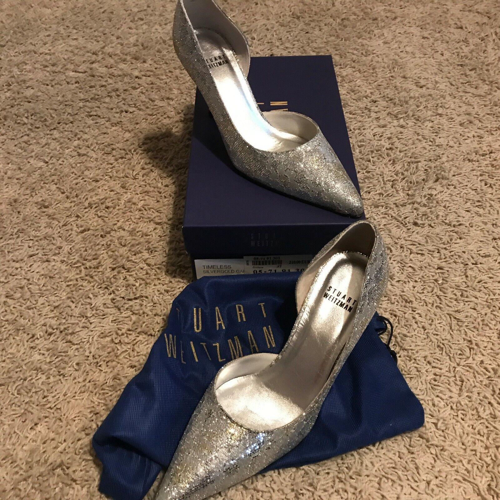 NIB Stuart Weitzman Silber Glitter Timeless pumps heels schuhe Größe 6.5 37