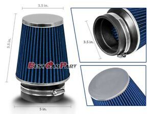 3-5-Inches-3-5-034-89-mm-Cold-Air-Intake-Narrow-Cone-Filter-Quality-BLUE-Dodge
