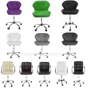 Swivel-Chair-Computer-Desk-Office-Study-PU-Leather-Adjustable-Chair-Chrome-Base