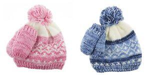 51c9f1ab07291 Newborn Baby Boy Girl Cotton Pom Pom Winter Hat and Mitten Set ...