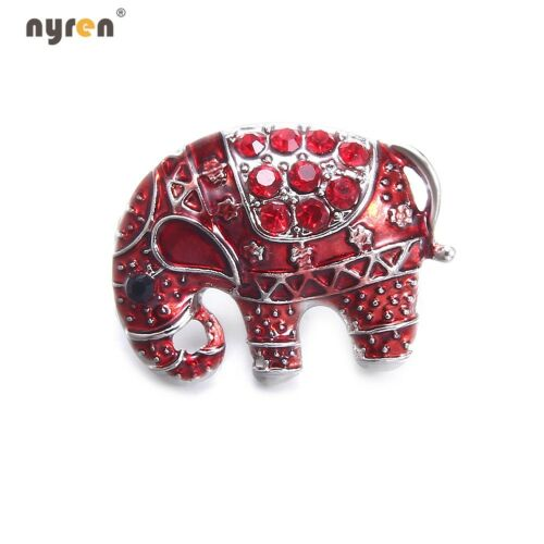 18mm Snap Button Metal Rhinestone Elephant Snap Charms Multi Color Snap Jewelry
