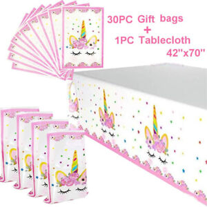Unicorn-Party-Supplies-30-Pack-Plastic-Bags-amp-Tablecloth-Set-Gift-Treat