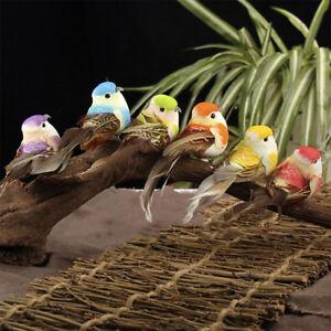 Set-de-6-Faux-Plume-Oiseau-Noel-Arbre-Decor-Perche-Foret-Mignon-Hot