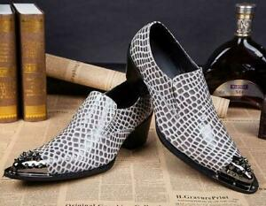 Mens Leather Pointy Metal Toe Dress Formal Oxfords Wedding Nightclub Shoes New