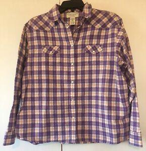 Wrangler-Blues-Womens-Western-Shirt-Size-XXL-Pearl-Snap-Close-Purple-Plaid
