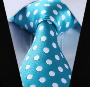 Aqua-with-White-Dots-Silk-Classic-Woven-Horse-Show-Tie-New