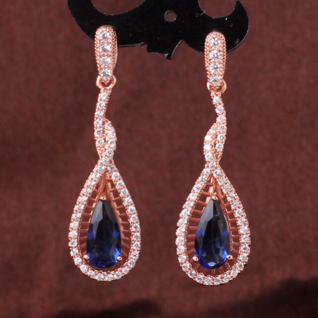 Luxury 18k rose gold filled Blue Sapphire crystal dangle charm wedding earring