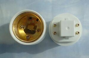 Two Pack Adapters To Use E27 E26 Light Bulbs In A Gx24 4 Pin Fixture Base Ebay
