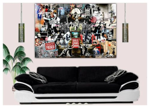 BANKSY COLLAGE  BEST COLLECTION PRINT ON WOOD FRAMED CANVAS WALL ART HOME DECOR
