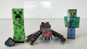 Minecraft-Set-of-3-Creeper-Spider-amp-Zombie-with-Sword-Figures-New-No-Box