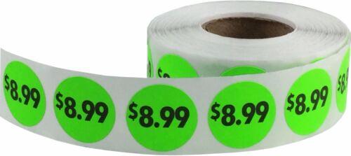 3//4 Inch Round Labels Fluorescent Pricing Circle Stickers $.99 thru $9.99