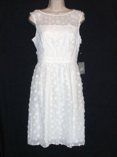 Ivory NWT $160 ADRIANNA PAPELL Embroidered Floral Sleeveless Dress 6  10 12 14