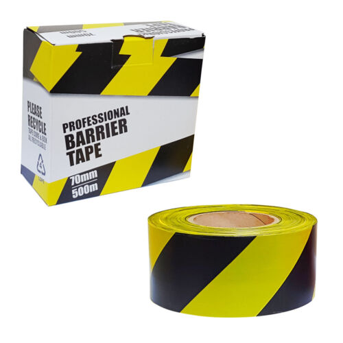 Cinta De Barrera advertencia de riesgo de seguridad no adhesiva amarilla y negra 70mm X 500m En Caja